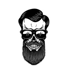 bearded skull in sun glasses design element for vector image