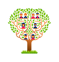 Big family tree with happy people icons vector