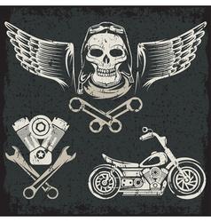 Biker Theme Label Set vector image