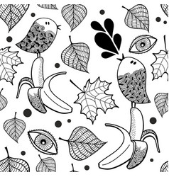 black and white seamless pattern with doodle birds vector image