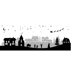 Black christmas panorama silhouettes of kids vector
