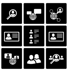 black people search icon set vector image