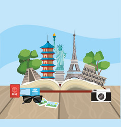 book with global travel place destination vector image