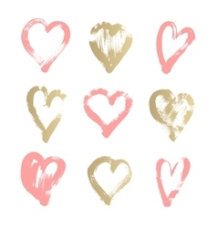 brush stroke sketch drawing of hearts shape set vector image