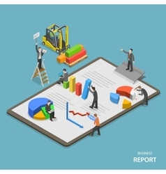 Business report isometric flat concept vector