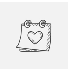 Calendar with heart sketch icon vector
