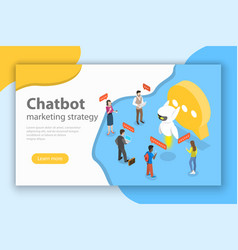 Chatbot markting strategy flat isometric vector