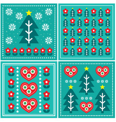 christmas folk art pattern set design vector image