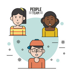 colorful poster of people team with half body vector image