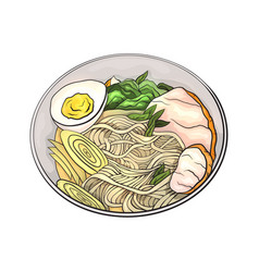 coloring cartoon of ramen noodles vector image