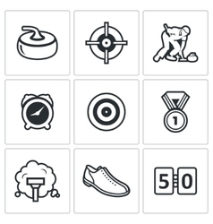 Curling icon set vector