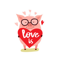 Cute cartoon pig with pink large vector