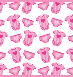cute girl clothes baby shower seamless pattern vector image