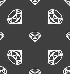 Diamond Icon sign Seamless pattern on a gray vector image