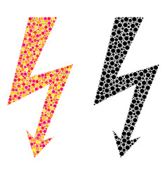 Dotted high voltage mosaic icons vector