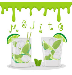 For alcohol cocktail mojito vector