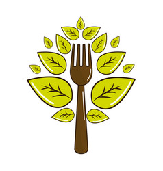 Fork kitchen tool with leaves vector