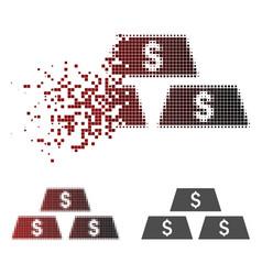 Fragmented pixel halftone dollar bullion bars icon vector