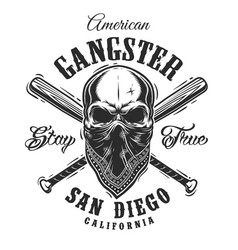 Gangster emblem with skull in bandana vector