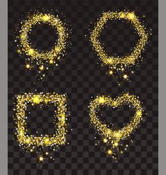 gold stars on transparent background set of frame vector image