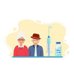 Grandparents are vaccinated against corona virus vector