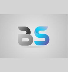 Grey blue alphabet letter bs b s logo icon design vector