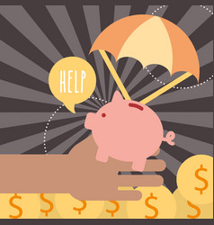 Hand with piggy coins help donate charity vector