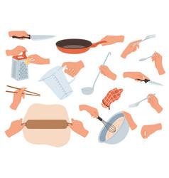 Hands preparing food cooking utensils in female vector