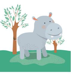 hippopotamus animal caricature in forest landscape vector image