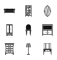 Home furnishings icons set simple style vector