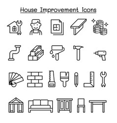 house improvement icon set in thin line style vector image