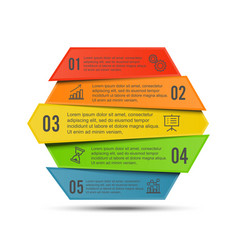 infographic template with 3d paper label vector image