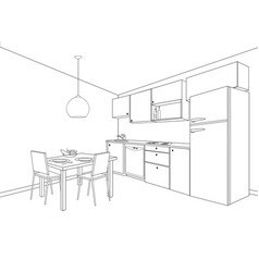 interior sketch of kitchen room outline blueprint vector image