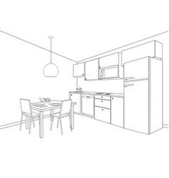 Interior sketch of kitchen room outline blueprint vector