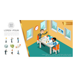 isometric business colorful composition vector image