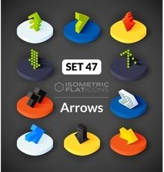 Isometric flat icons set 47 vector image