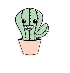 kawaii cute happy cactus plant vector image