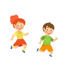 Kids children boy and girl playing tag running vector