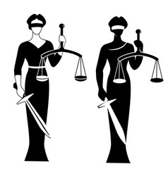 Lady justice black vector