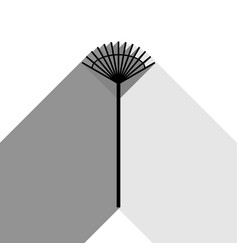 Lawn rake sign black icon with two flat vector