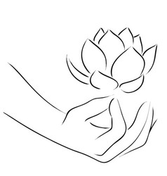 Line art of yoga hand vector