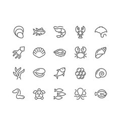 line sea food icons vector image