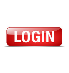 login red square 3d realistic isolated web button vector image
