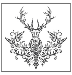 Logo graphic deer with floral ornaments vector image