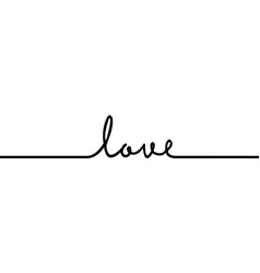 love - continuous one black line with word vector image