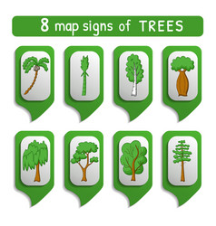 Map sign trees set vector