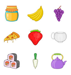 Marmalade icons set cartoon style vector