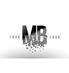 Mb m b pixel letter logo with digital shattered vector