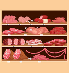 Meat on shelves fresh sausages pork ham vector
