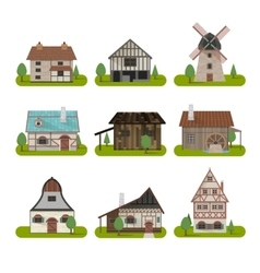 Medieval Ancient Buildings Set vector